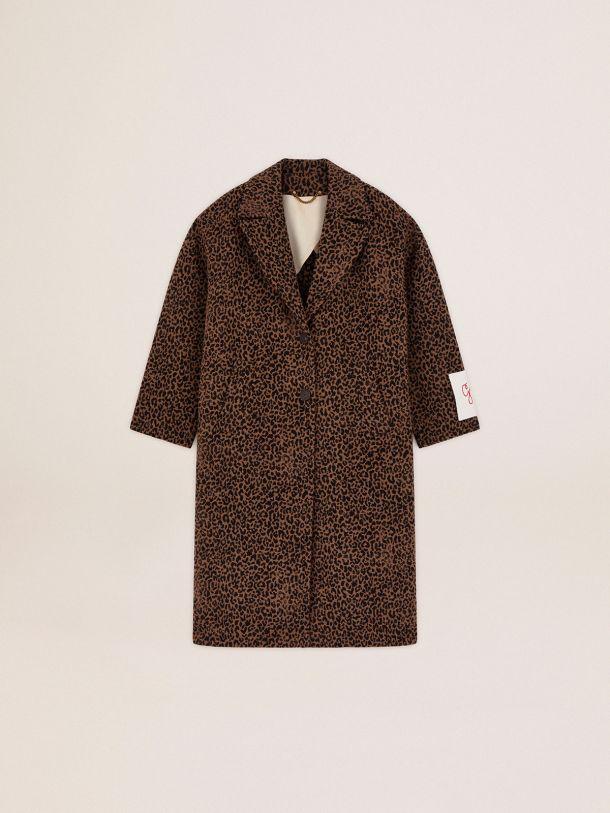 Manteau droit cocon Golden Collection en laine avec motif animalier jacquard