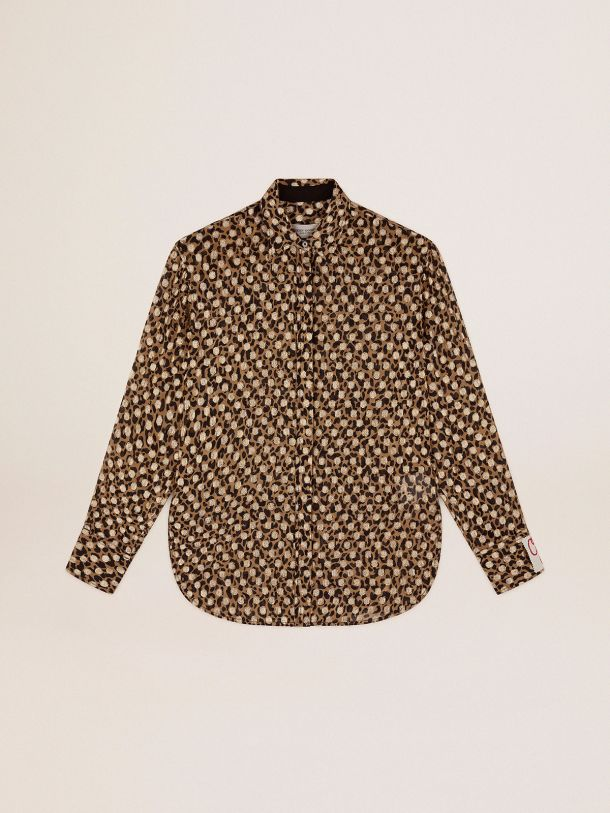 Golden Collection boyfriend shirt with animal print and gold plumetis
