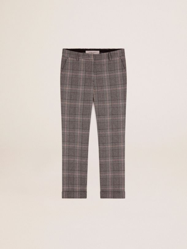Golden Goose - Golden Collection cigarette pants in gray and white Prince of Wales check in