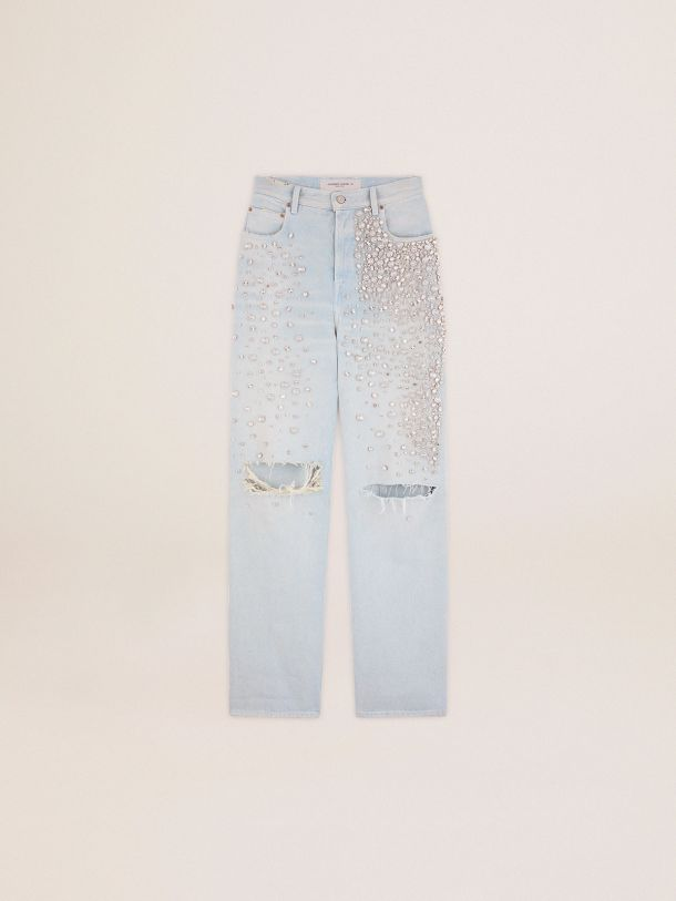 Golden Goose - Golden Collection bleached Kim jeans with cabochon crystals in