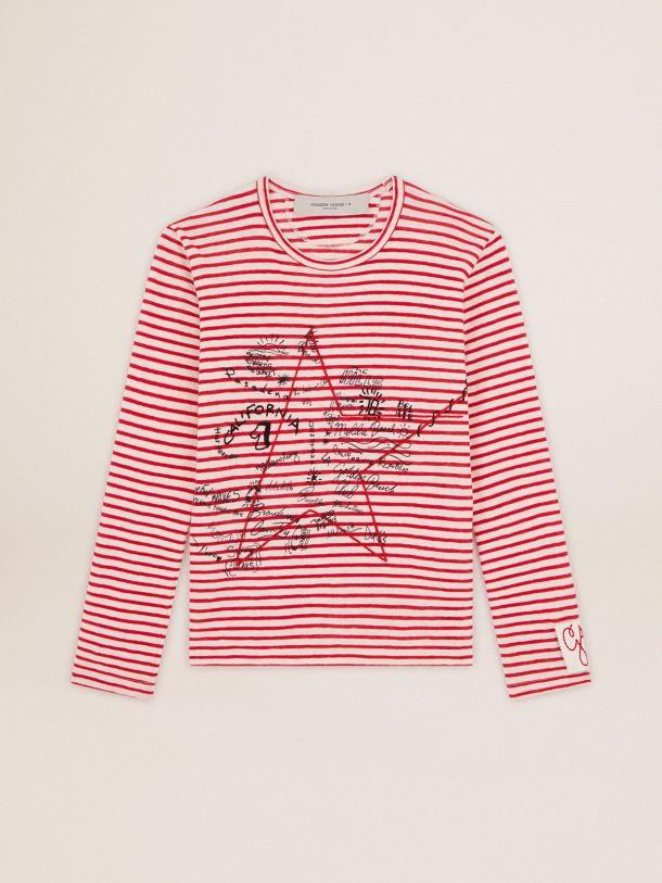 Golden Goose - T-shirt Golden Collection con righe bianche e rosse e ricamo sul davanti in