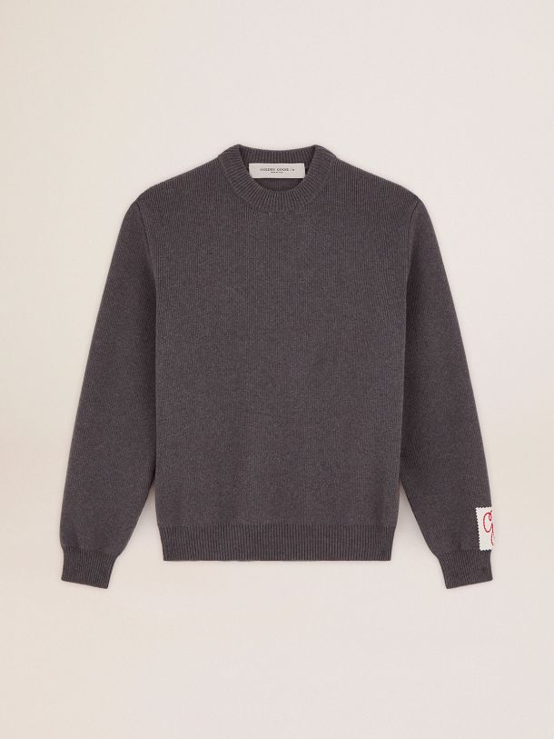 Golden Goose - Golden Collection round-neck sweater in dark gray melange cotton with contrasting white logo on the back in