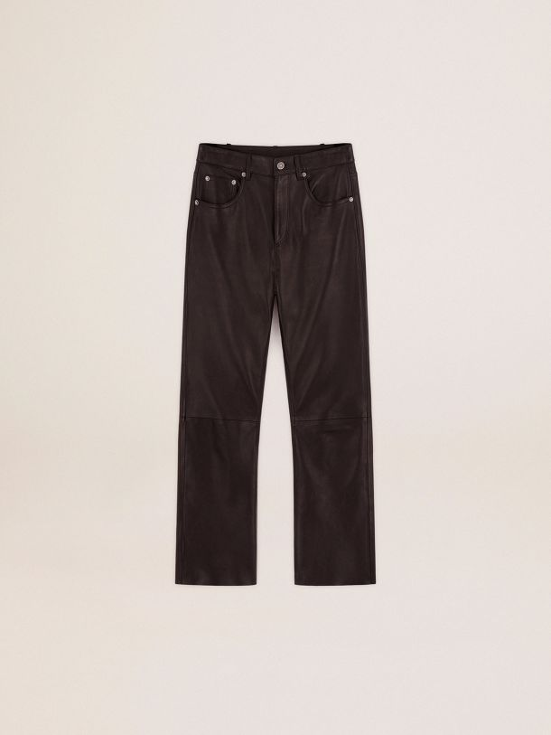 Golden Goose - Golden Collection flared cropped pants in soft black nappa leather in