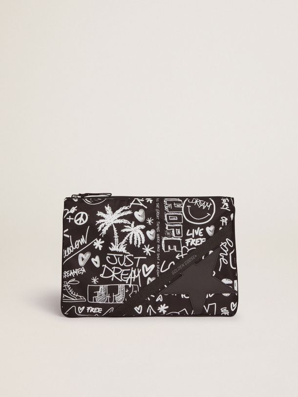 Golden Goose - Journey pouch in black nylon with contrasting white decorations in