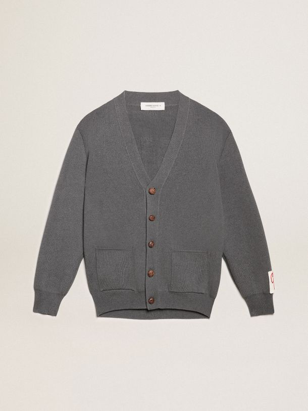 Golden Collection cardigan in dark gray melange cotton with contrasting white logo on the back