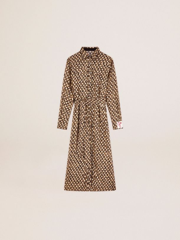 Golden Collection shirt dress with animal print and gold plumetis