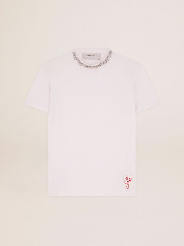 Golden Goose - Golden Collection T-shirt in white with cabochon crystals in