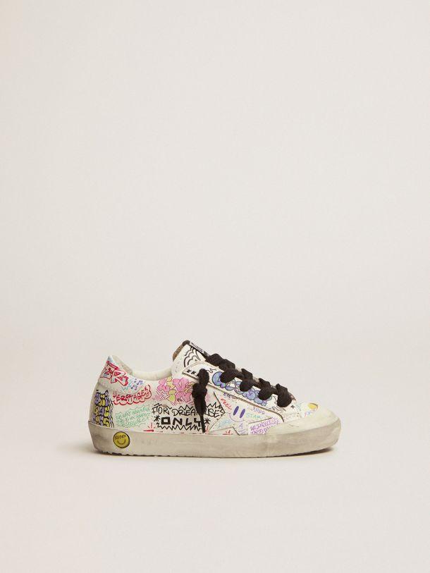 Golden Goose - Zapatillas deportivas Super-Star Penstar de piel blanca con estampado de grafiti multicolor in