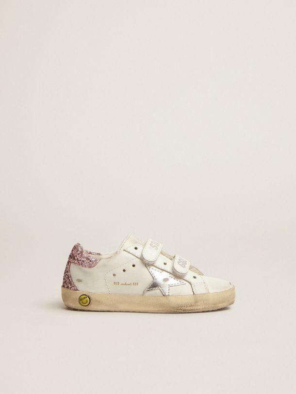 Sneakers Old School avec contrefort à paillettes roses et étoile en cuir lamé argenté