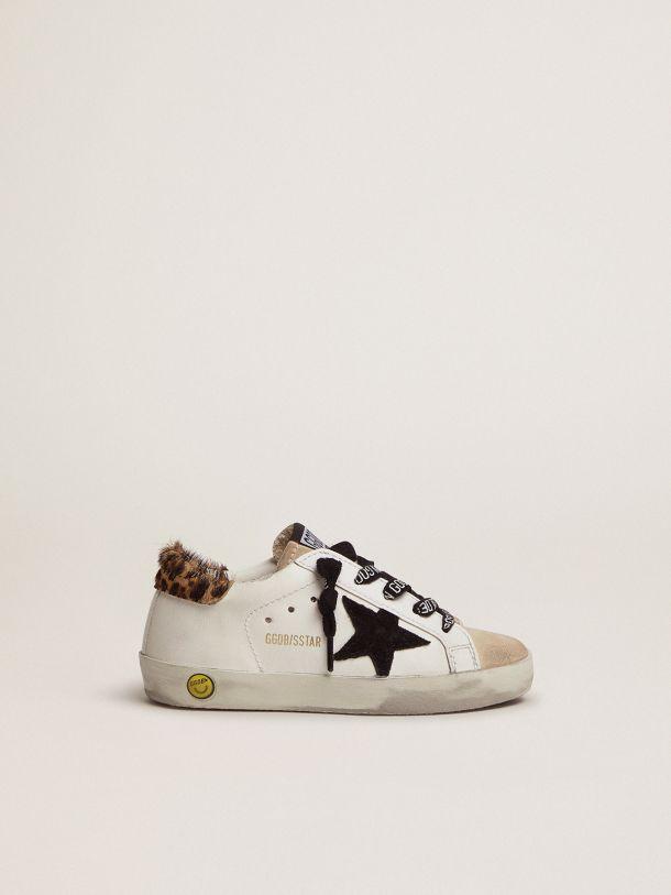 Golden Goose - Zapatillas deportivas Super-Star con refuerzo del talón de piel efecto potro con motivo leopardo y estrella de ante negro in