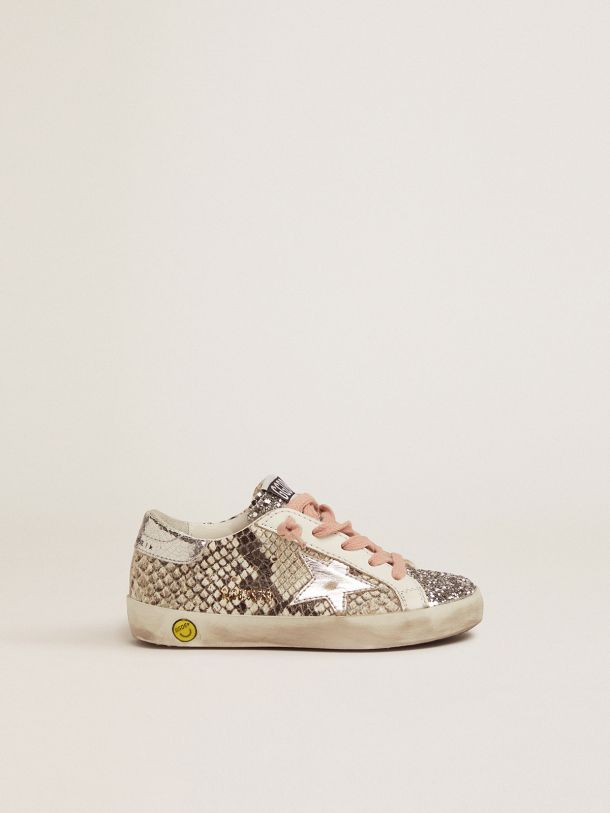Golden Goose - Super-Star sneakers with snakeskin-effect leather upper and glittery tongue in