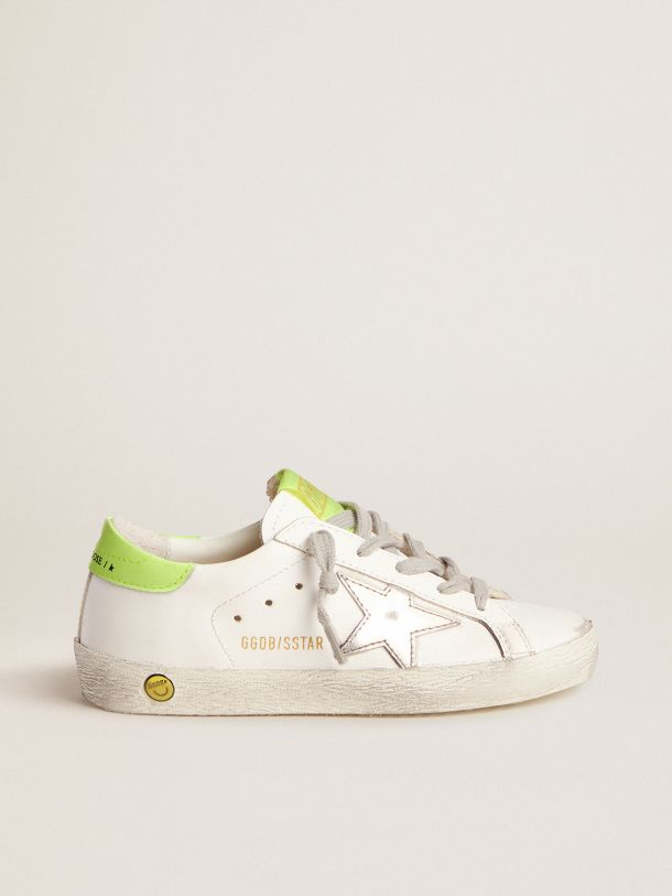 Golden Goose - Super-Star sneakers with fluorescent yellow heel tab and silver star in