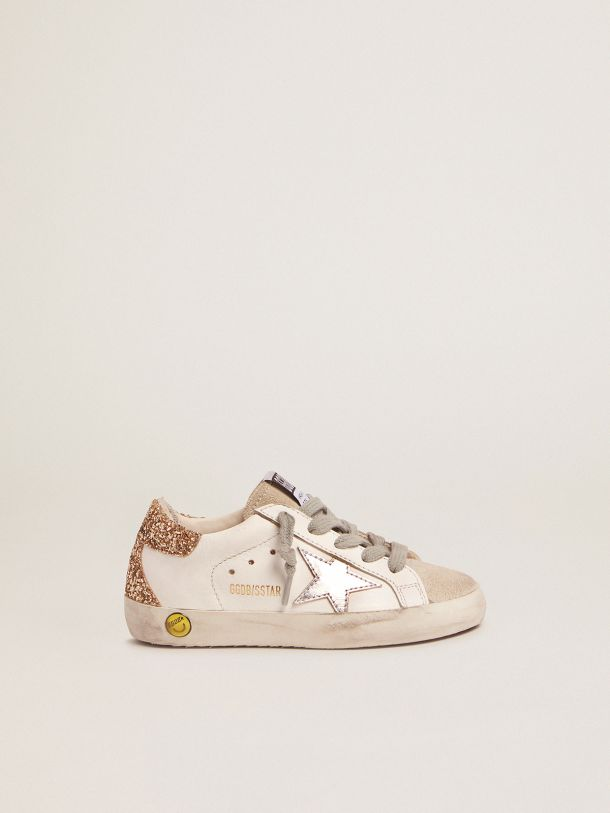 Golden Goose - Super-Star sneakers with gold glitter heel tab and laminated silver star in