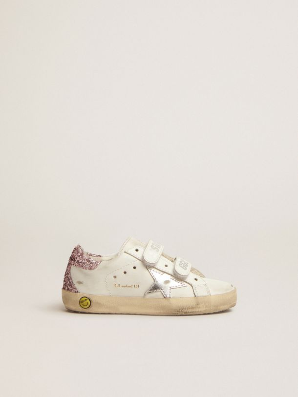 Old School sneakers with pink glitter heel tab and silver laminated leather star