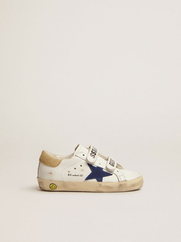 Old School sneakers with sand-colored suede heel tab and blue suede star