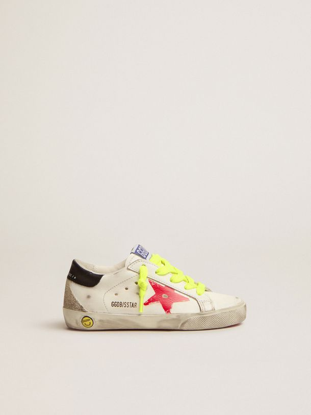 Super-Star sneakers with red screen printed star and black leather heel tab