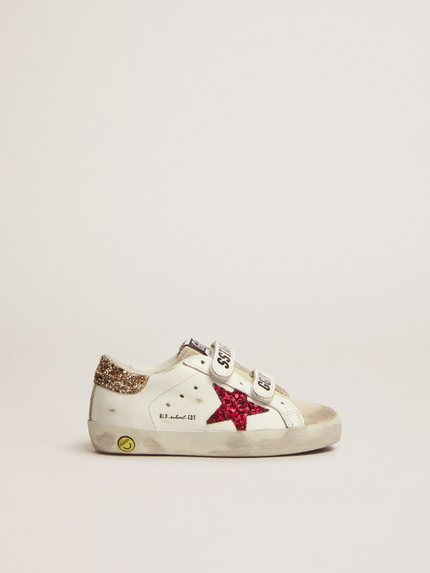 Golden Goose - Old School sneakers with colored glitter star and heel tab in