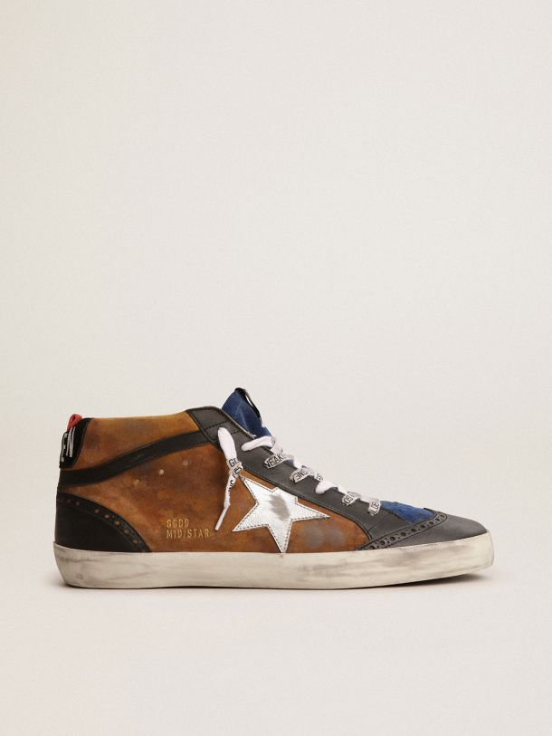 Mid Star sneakers in bronze-colored suede with black leather details
