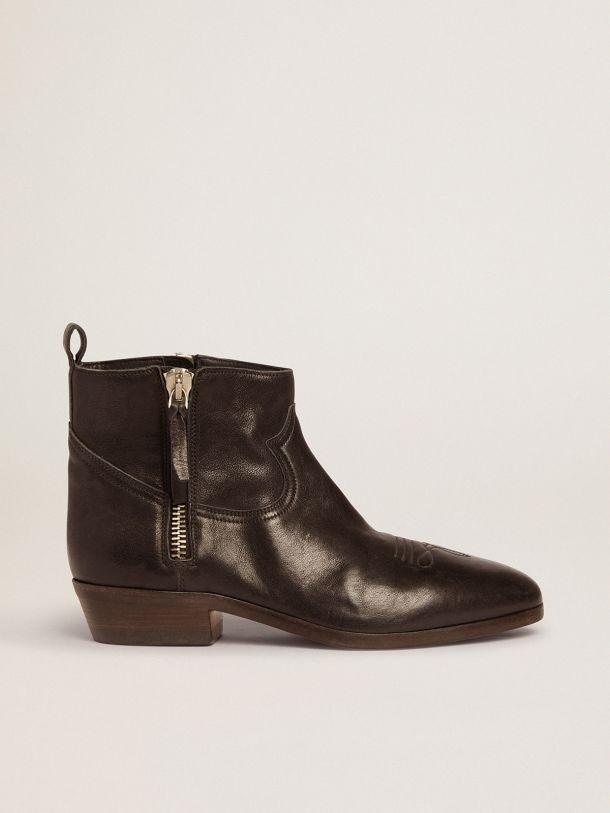 Golden Goose - Viand ankle boots in leather with cowboy-style decoration in