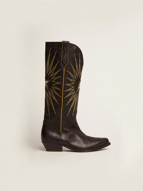 Golden Goose - Wish Star boots in glossy leather with cowboy-style decoration in