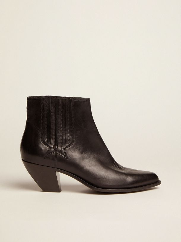 Golden Goose - Black Sunset Flowers ankle boots with cowboy-style decoration in
