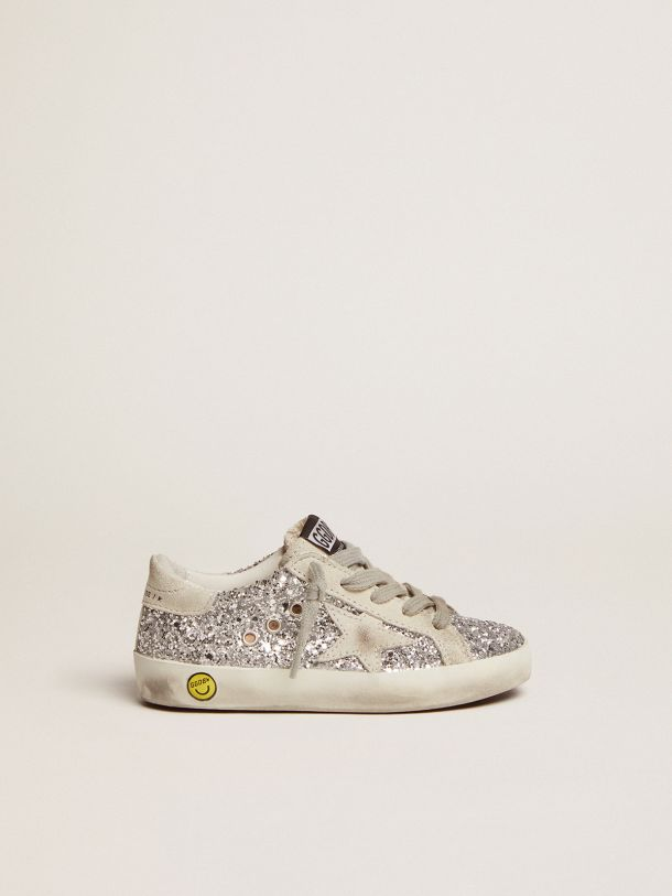 Golden Goose - Super-Star sneakers with silver glitter in