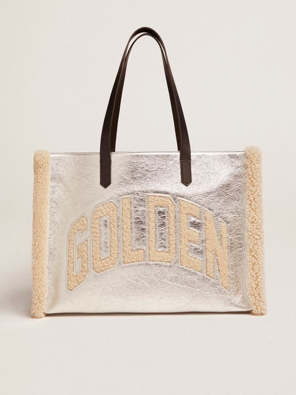 East-West California Bag in silver laminated leather with merino wool inserts