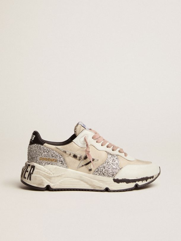 Running Sole sneakers with cream canvas upper and zebra-print pony skin star