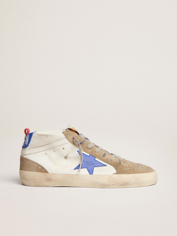 Mid Star sneakers in white leather with blue leather star and dove-gray suede inserts