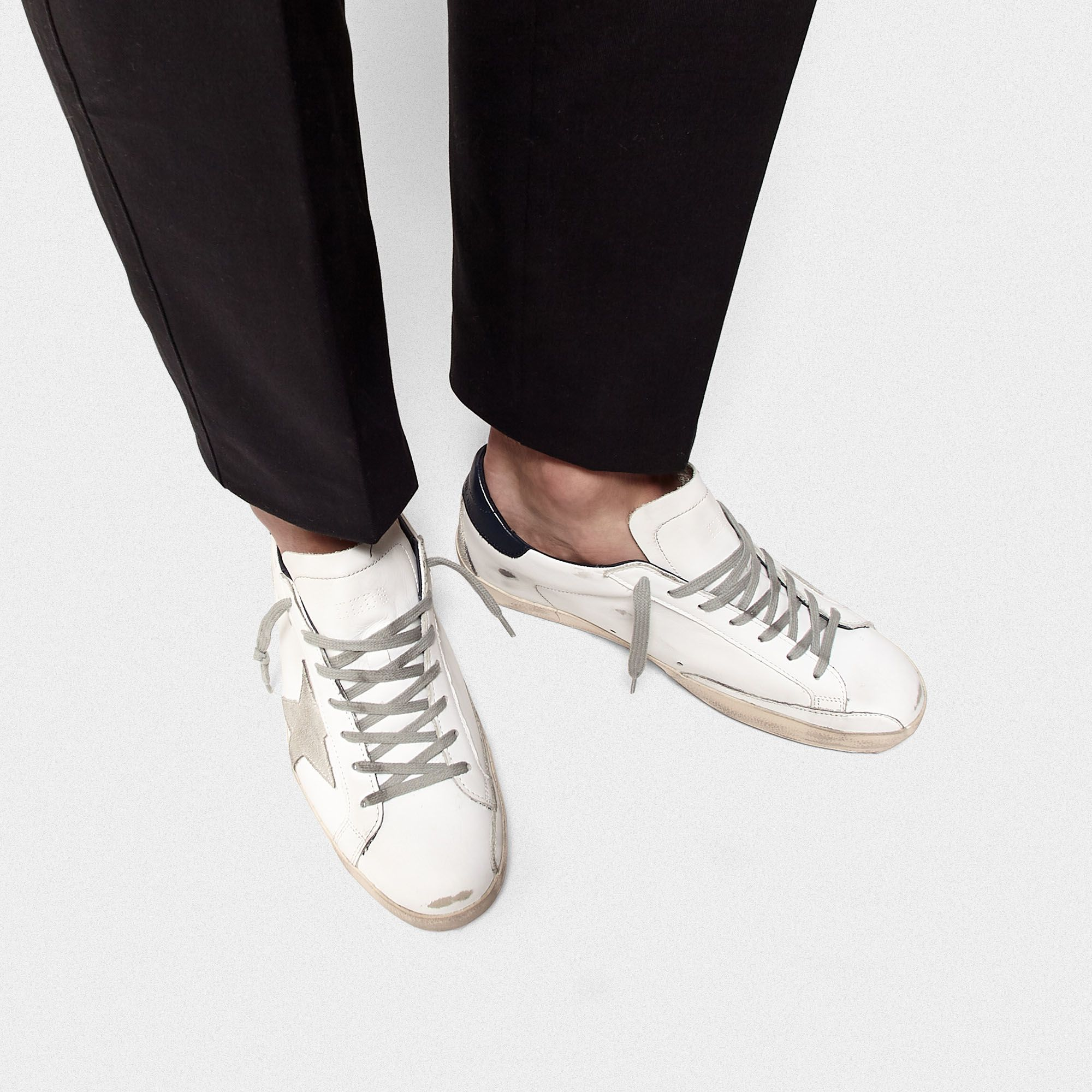 Golden Goose - Super-Star sneakers with blue suede heel tab in