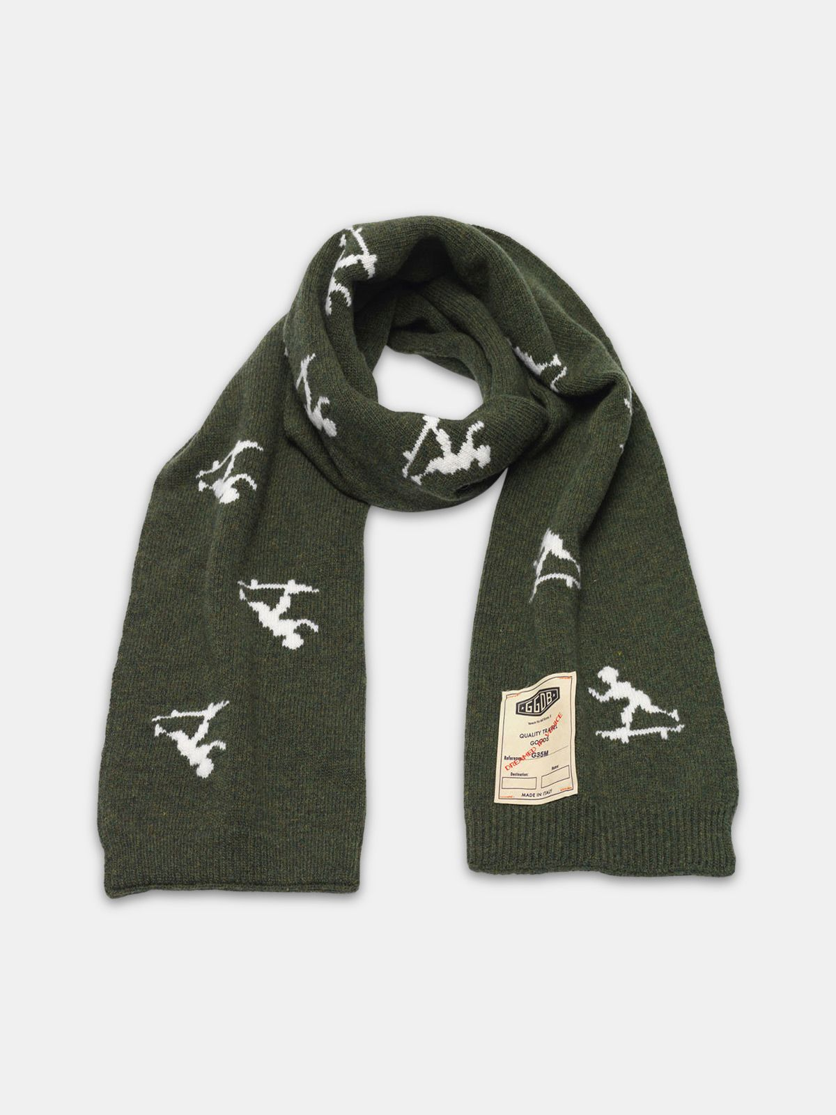 Golden Goose - Michio scarf made of wool with vintage logo label in