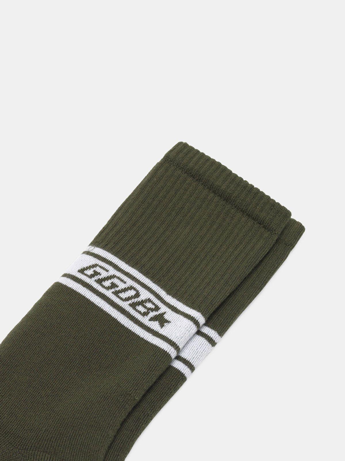 Golden Goose - Short Hideki terry socks with jacquard logo in