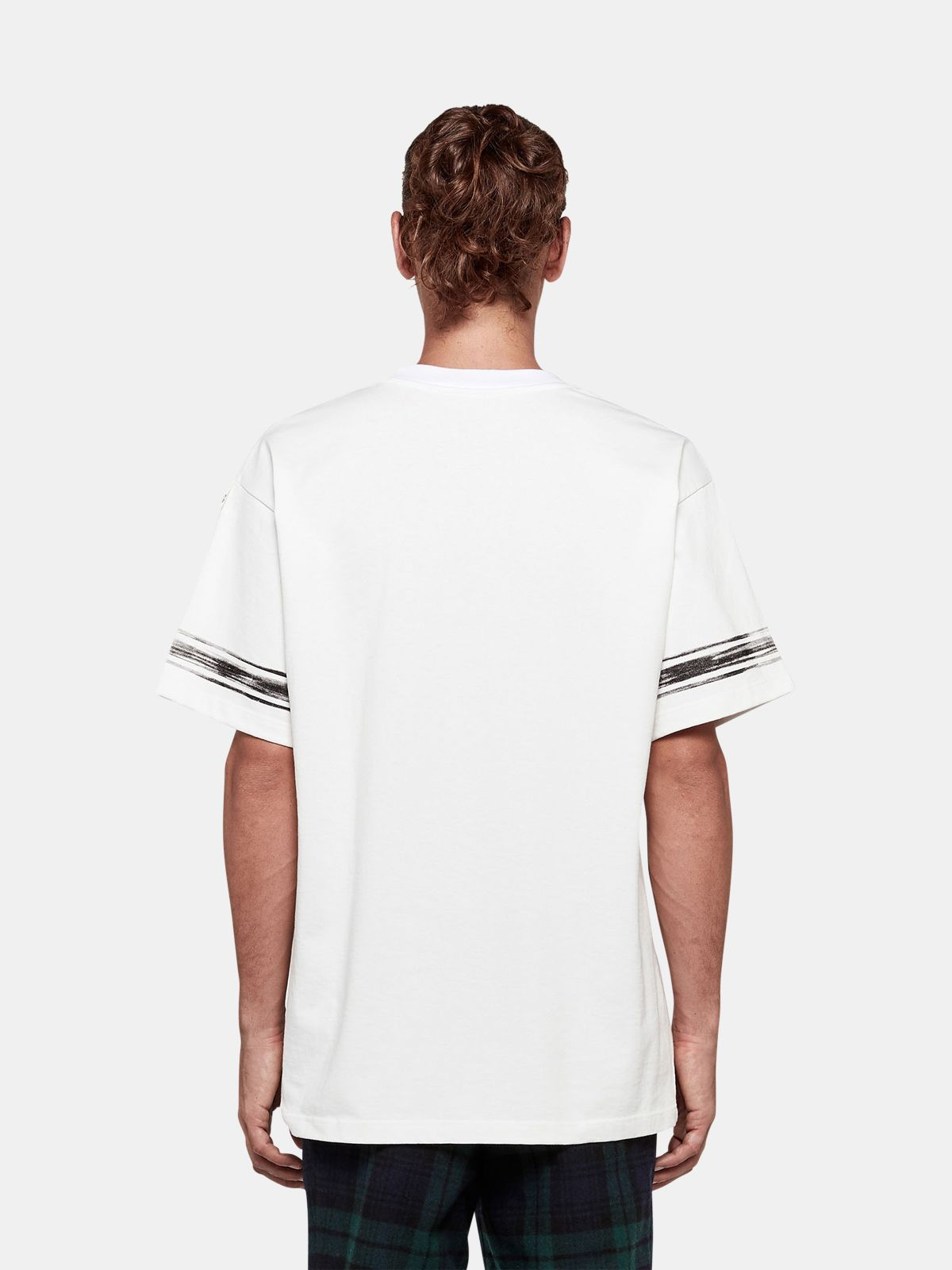 Golden Goose - Ryo T-shirt in cotton jersey with logo and contrast stripes in