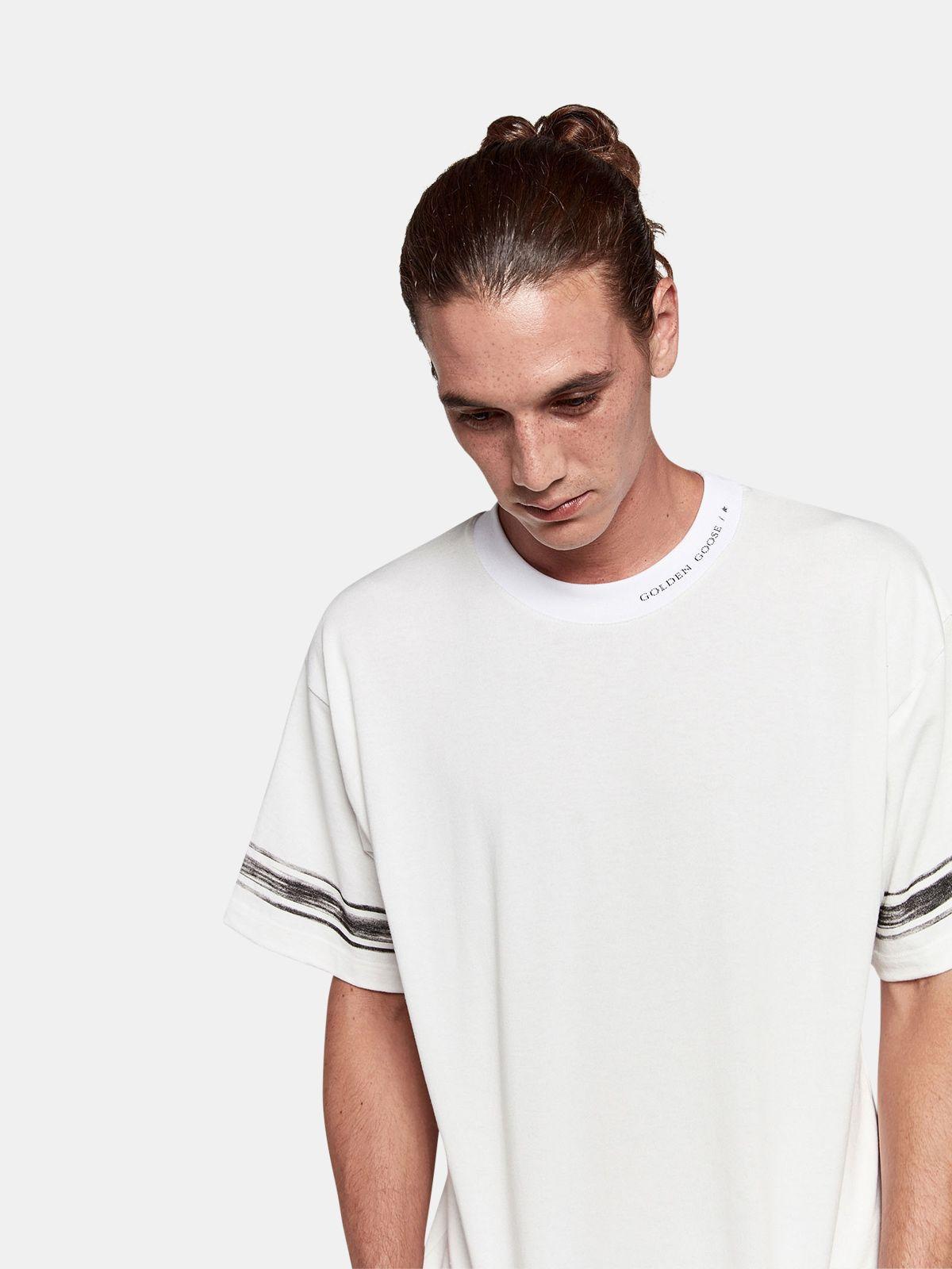 Golden Goose - T-shirt Ryo in jersey di cotone con logo e righe a contrasto in