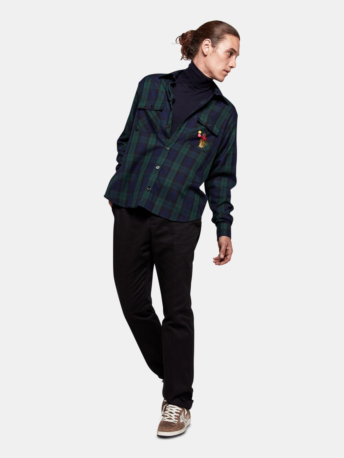 Golden Goose - Eiji shirt in tartan with fishing fly decoration in