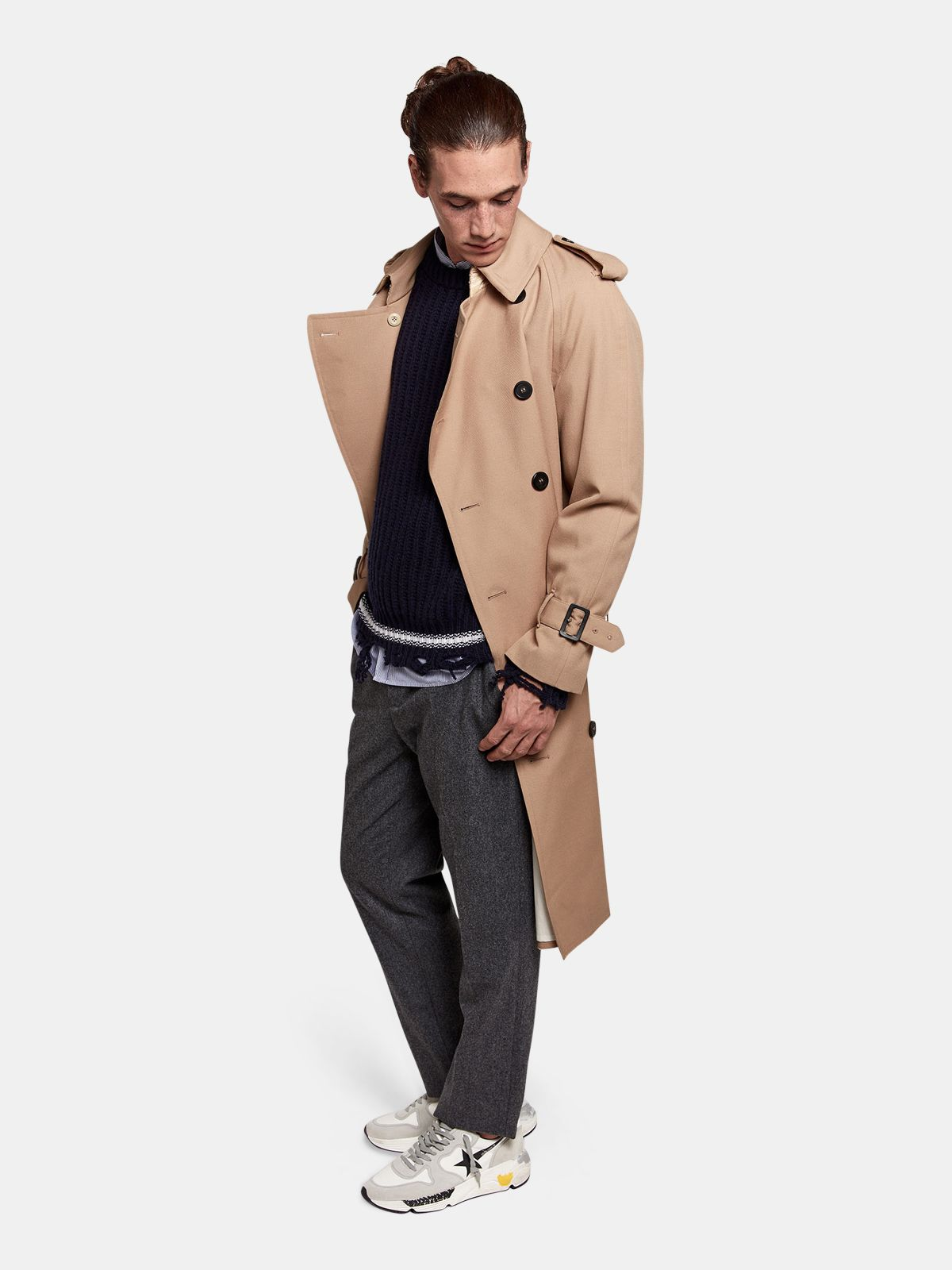 Golden Goose - Hitoshi trench coat in wool with inserts in nylon in