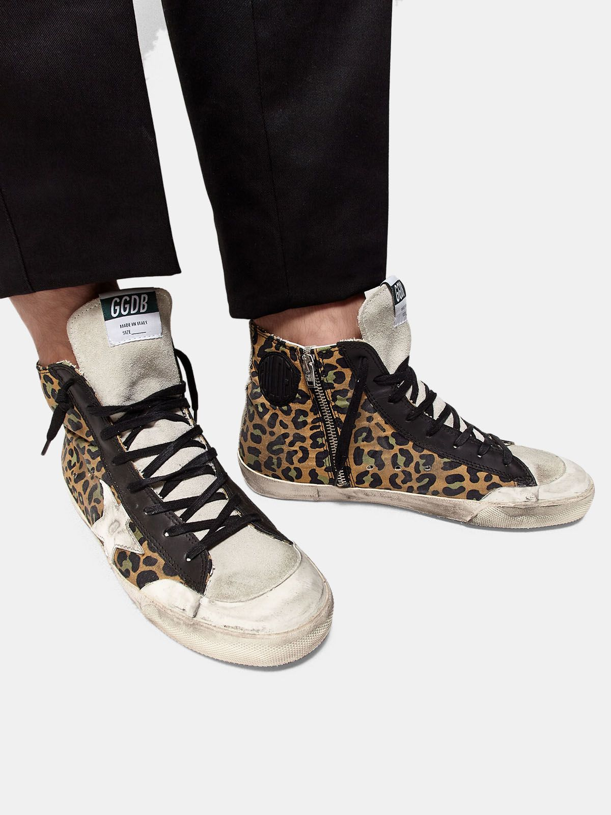 Golden Goose - Francy sneakers in canvas with leopard pattern and leather in