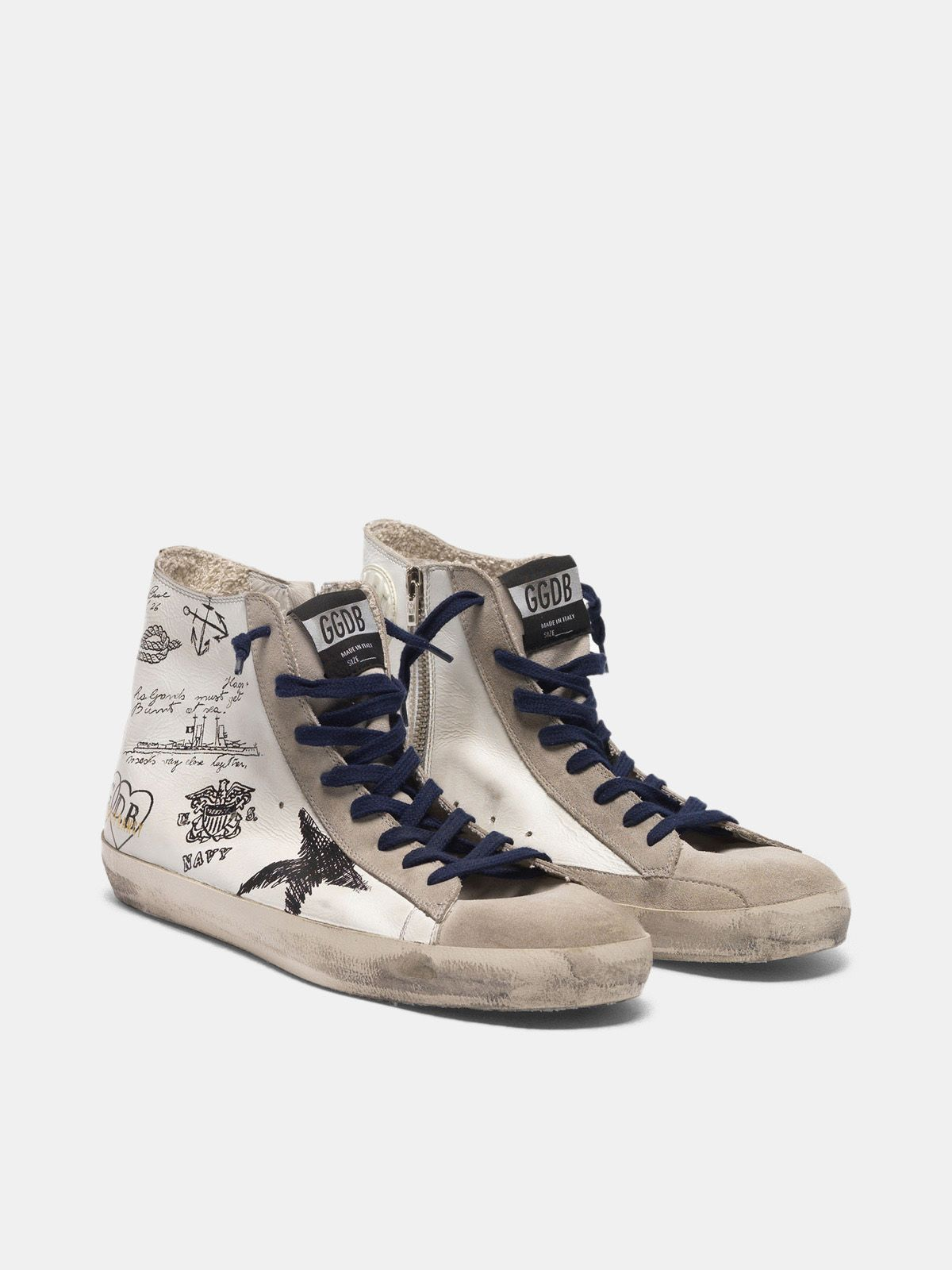 Golden Goose - Francy sneakers in leather with tattoo prints in