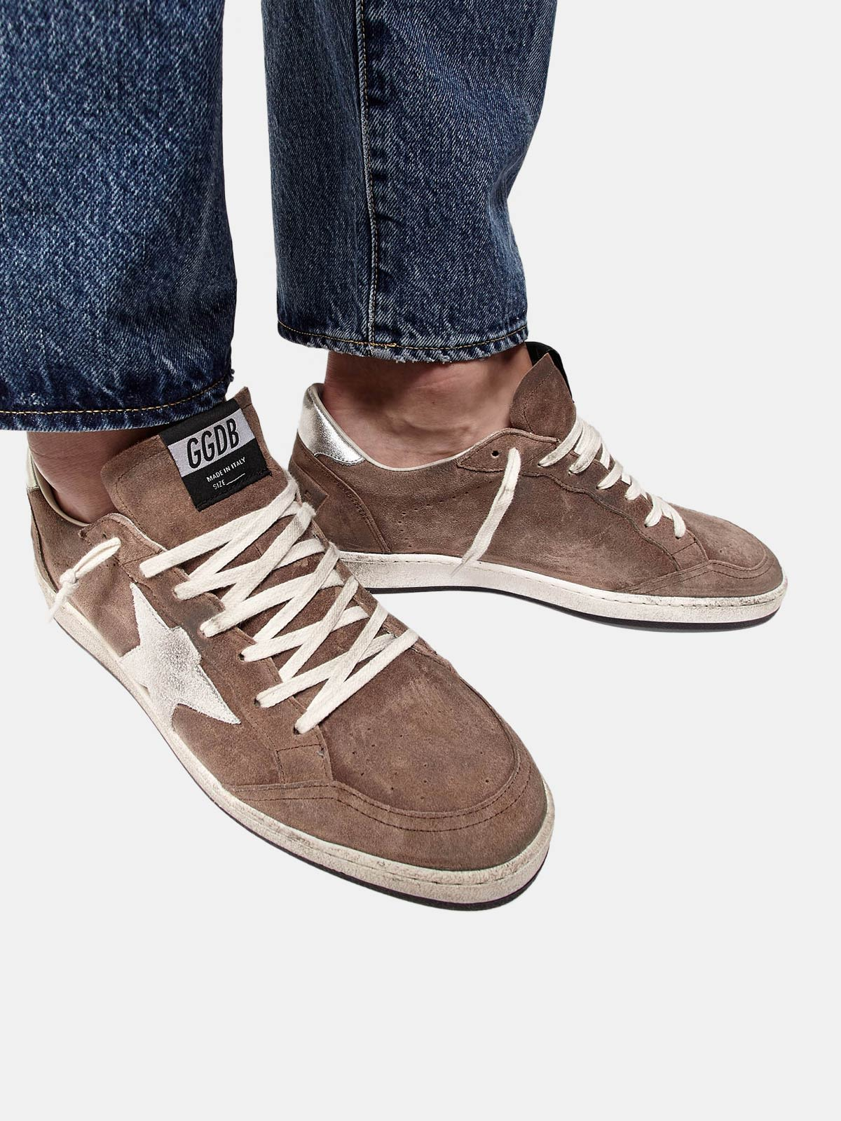 Golden Goose - Sneakers Ball Star in suede con stella a contrasto e talloncino metal in