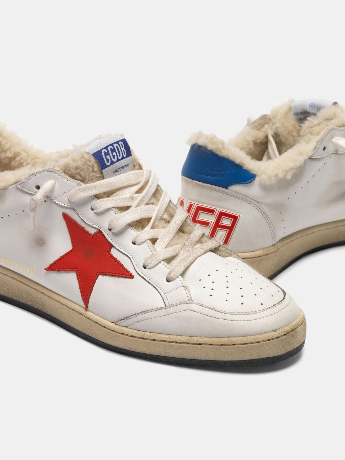 Golden Goose - Ball Star sneakers in leather with shearling insert  in