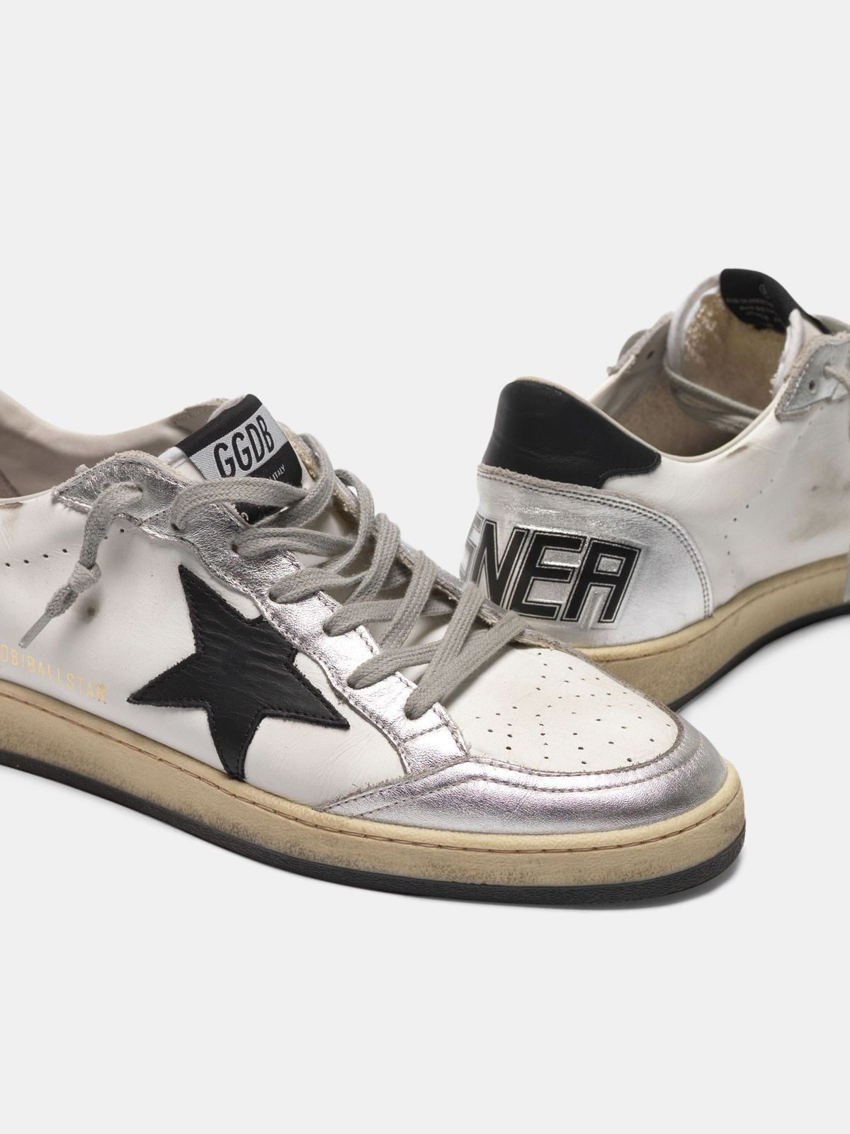 Golden Goose - Leather Ball Star sneakers with metallic inserts and black star in