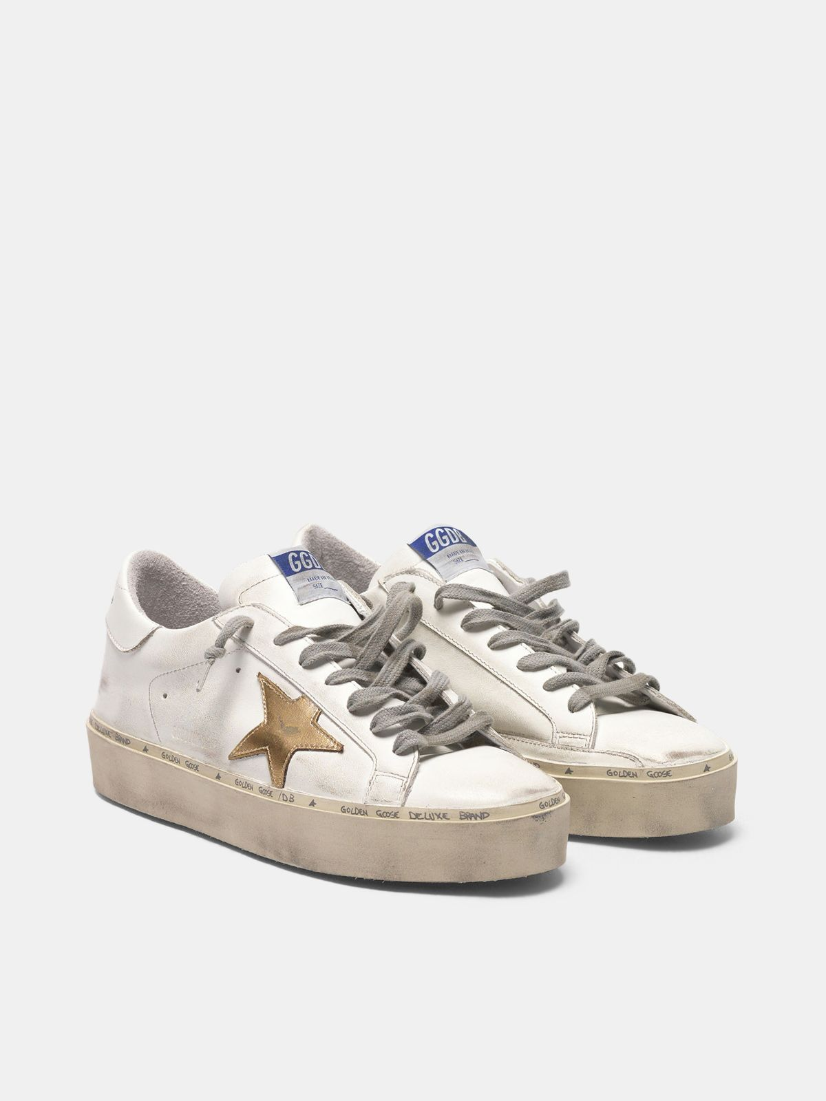 Golden Goose - Sneakers Hi Star in pelle con stella dorata in