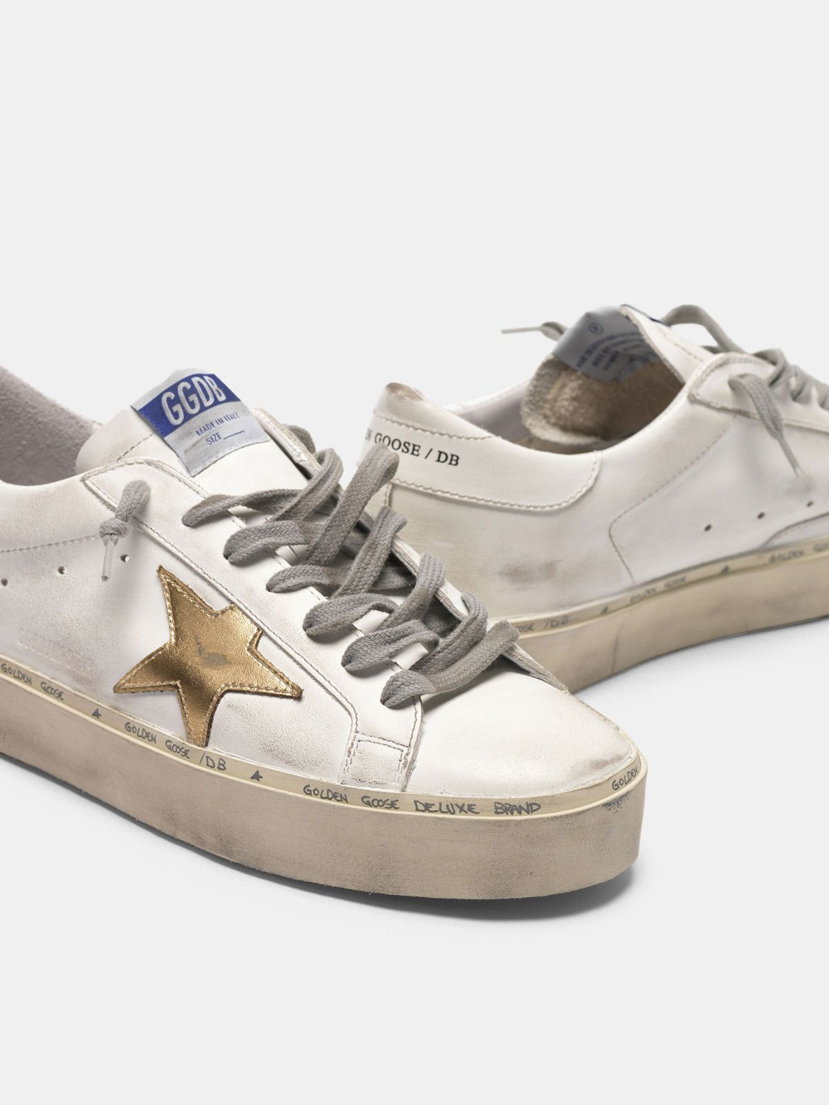 Golden Goose - Hi Star sneakers in leather with gold star in
