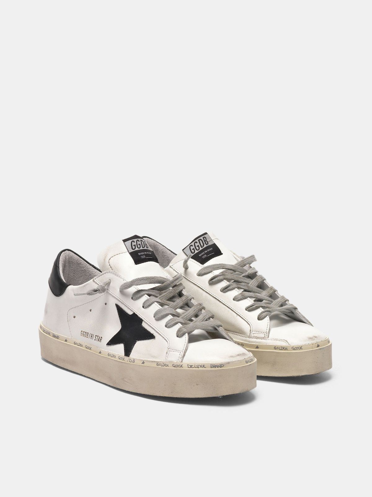 Golden Goose - Hi Star sneakers in leather with black star in