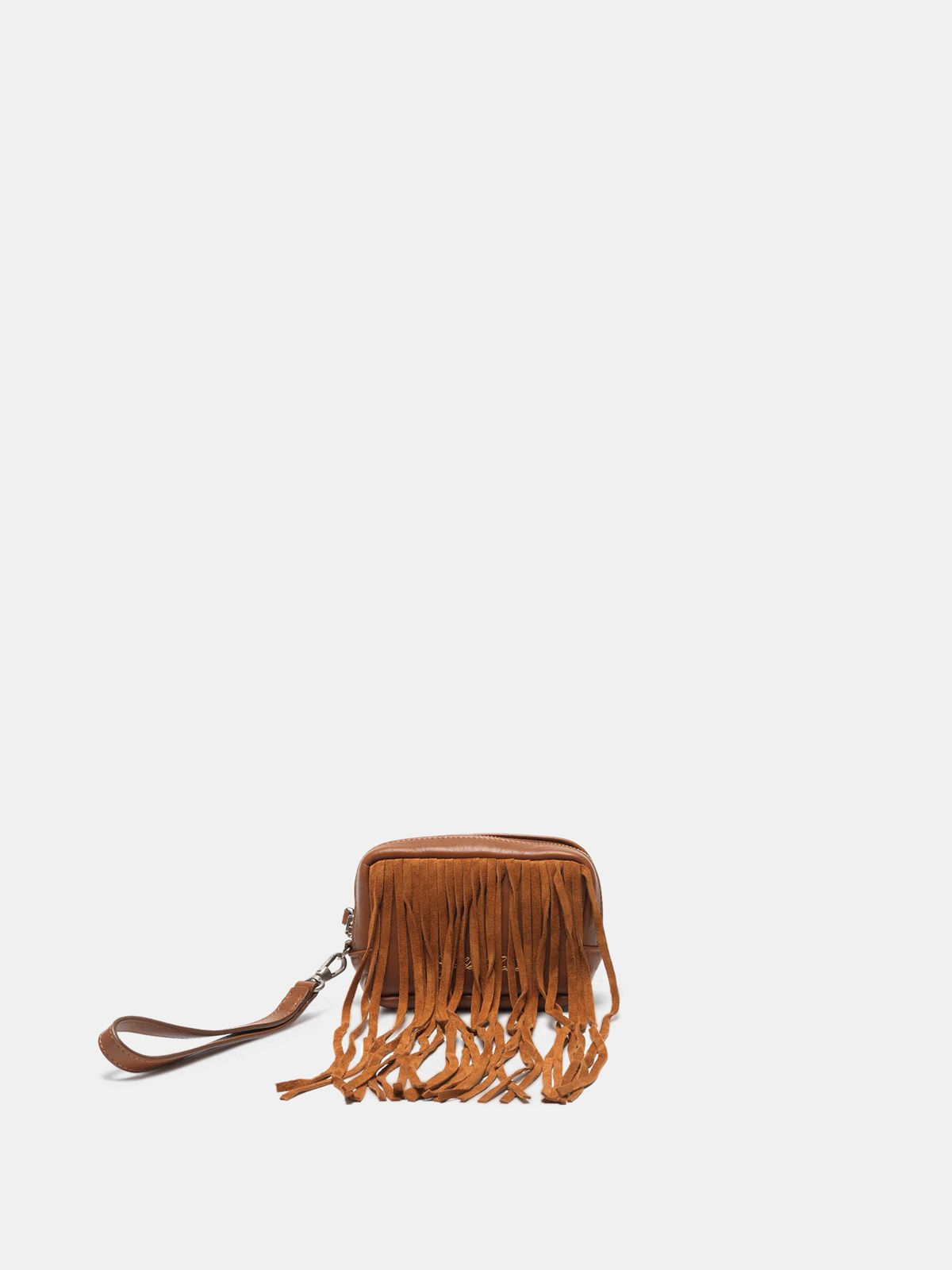 Golden Goose - Beauty bag in suede leather with fringe in