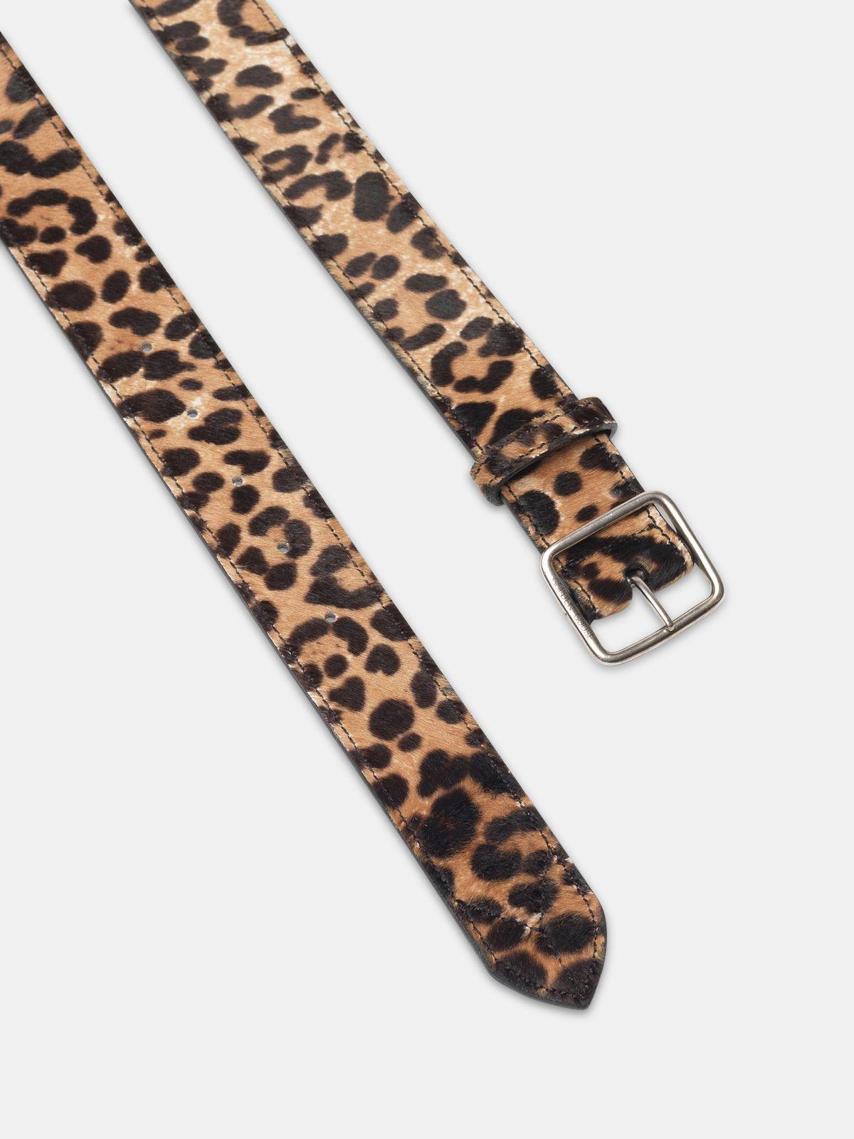 Golden Goose - Leopard print pony skin Equipage belt in