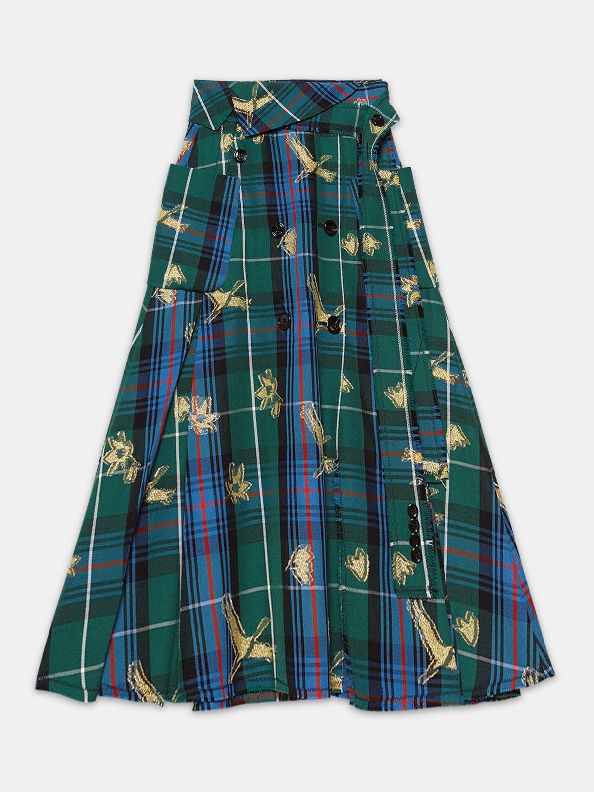Golden Goose - Makiko skirt in plumetis tartan   in