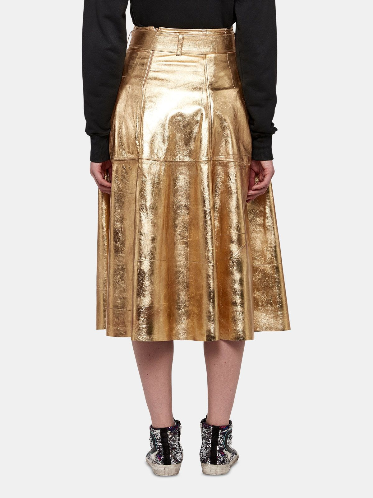 Golden Goose - Akemi gold leather skirt in