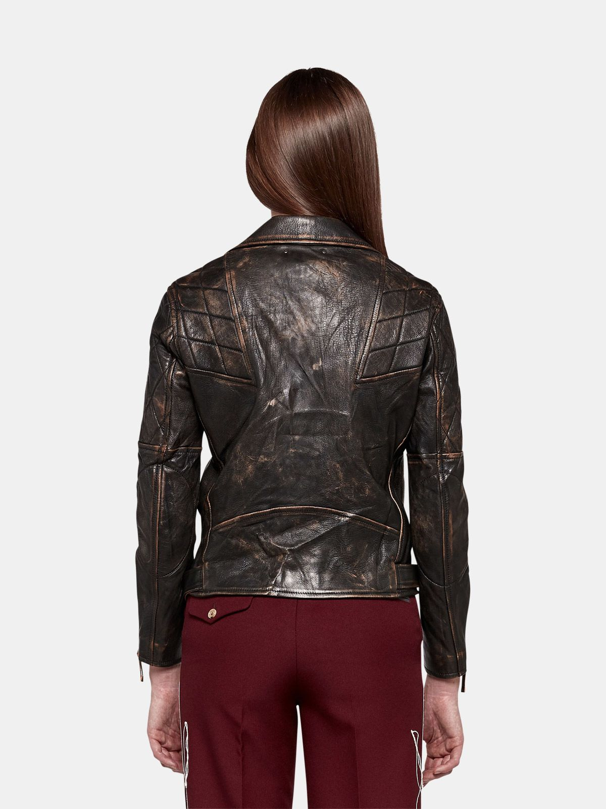 Golden Goose - Yasu biker jacket in brown leather in