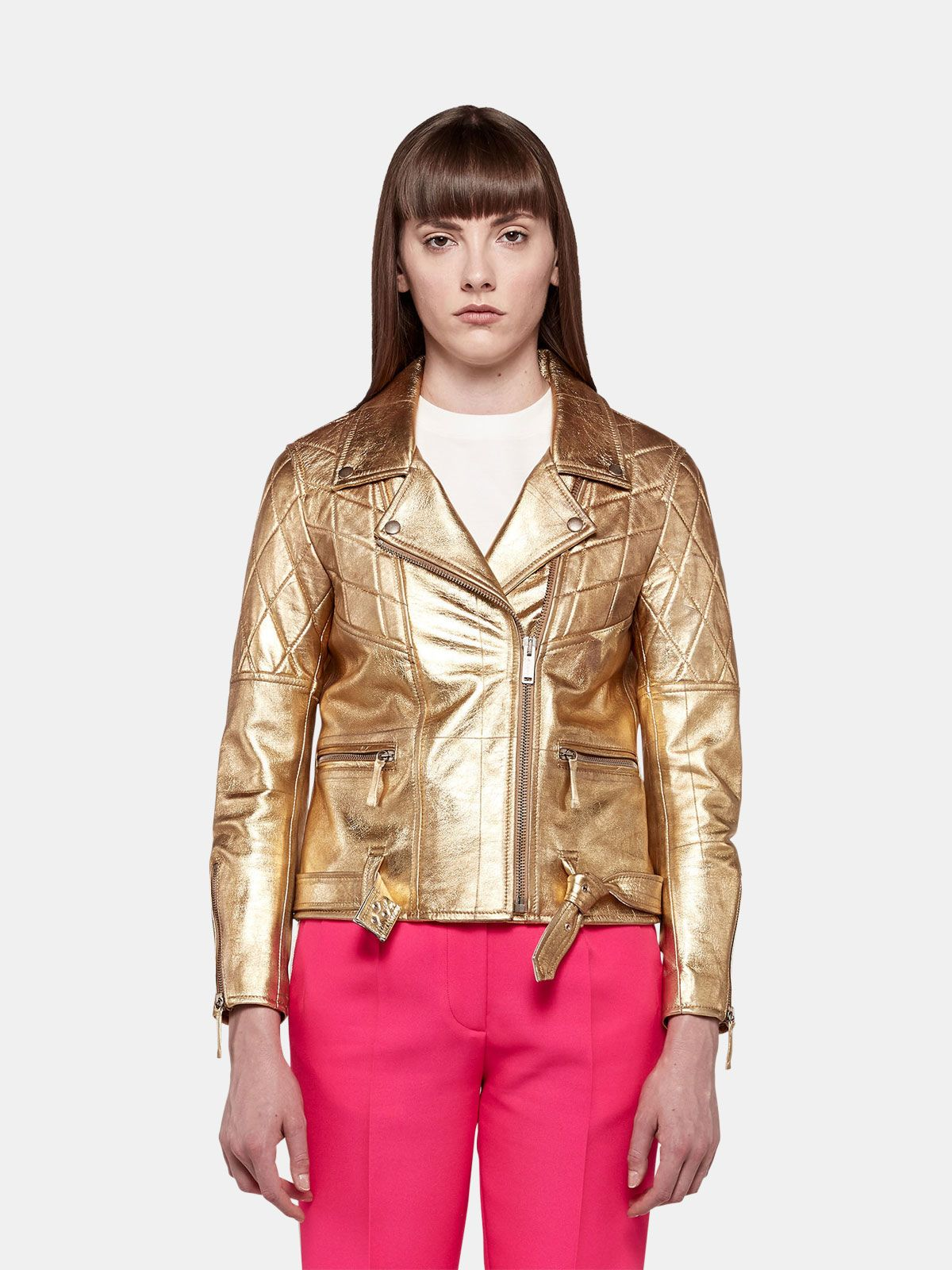 Golden Goose - Yasu biker jacket in gold leather with star print in